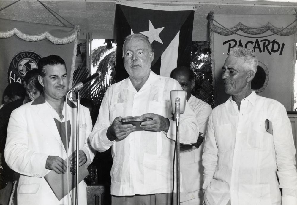 Ernest Hemingway with a retro Cuban shirt (Guayabera)