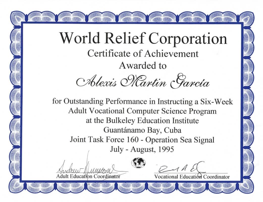 World Relief Certificate