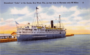 Postcard showing the steamship Cuba, that ran from Tampa to Key West, and Havana.