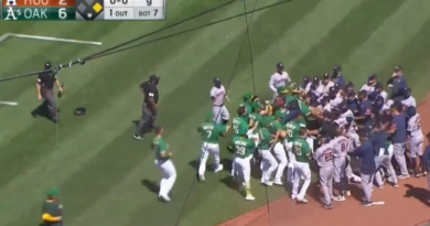 Video: Benches Cleared During The Astros-Athletics Game After A Batter Was Hit By A Pitch