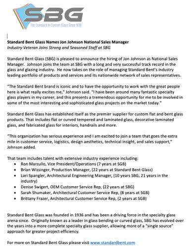 Standard Bent Glass Names Jon Johnson National Sales Manager