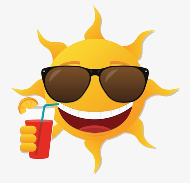 sun with sunglasses and drink