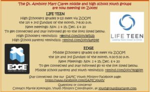 Middle School Edge Youth Group @ Online