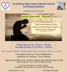 Lenten Silent Mini-Retreat @ Building B (RE building)