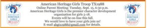 American Heritage Girls Troop TX1988 Online Parent Meeting @ Online