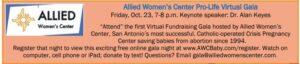 Allied Women's Center Pro-Life Virtual Gala @ Online