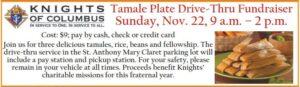 Tamale Plate Drive-Thru Fundraiser @ Parking lot