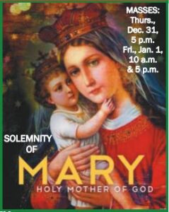 Solemnity of Mary Mother of God Masses @ Church