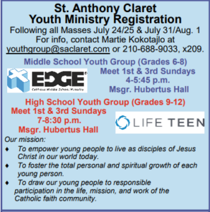 Youth Ministry Registration @ TBA
