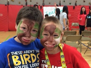 Two students show off their newly painted faces!