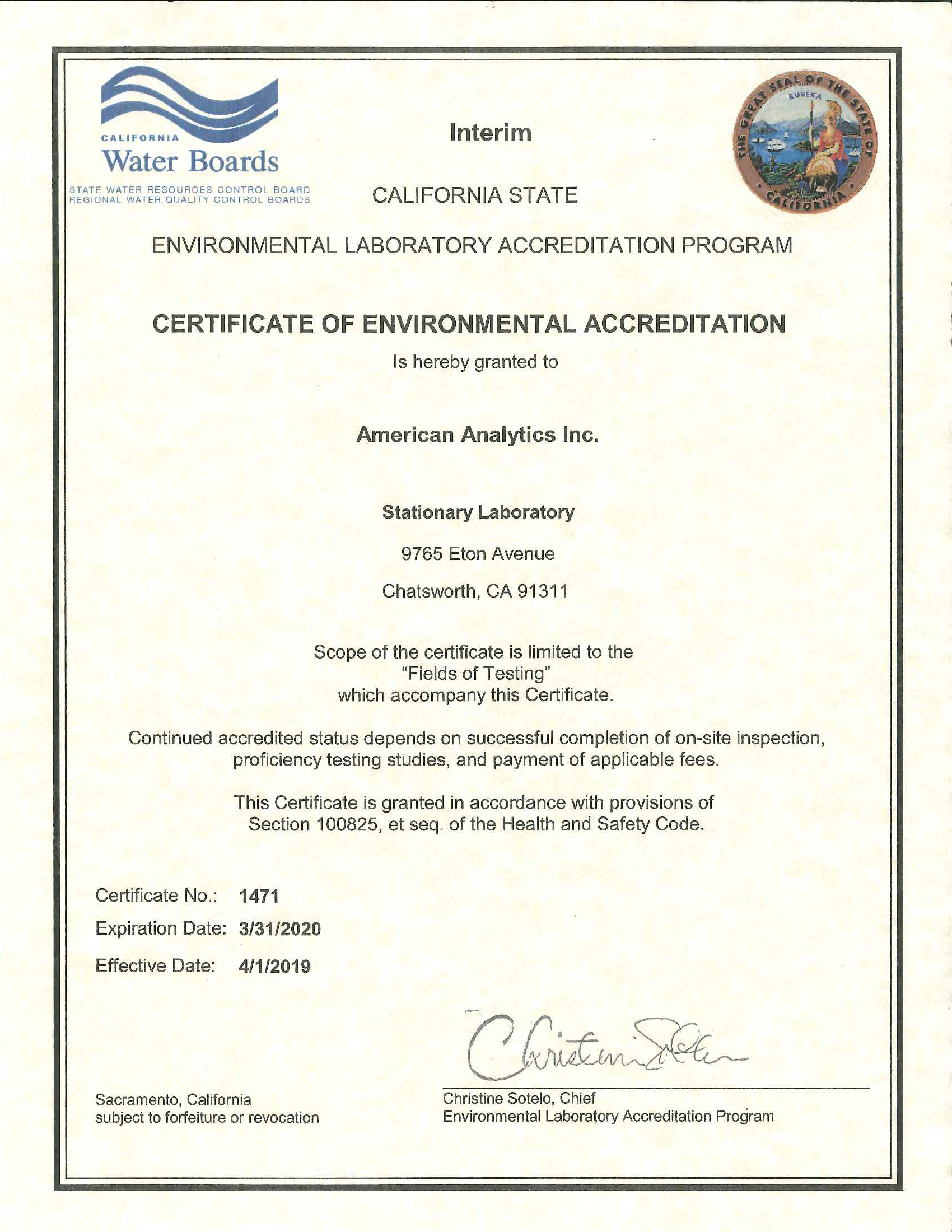 American Analytics ELAP stationary lab certification