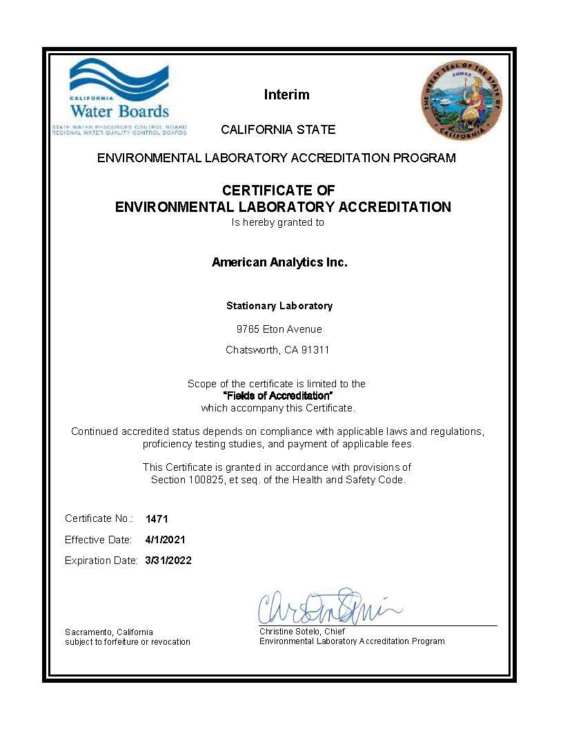 ELAP Certification American Analytics