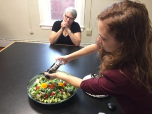 coworkers feast on rock salad