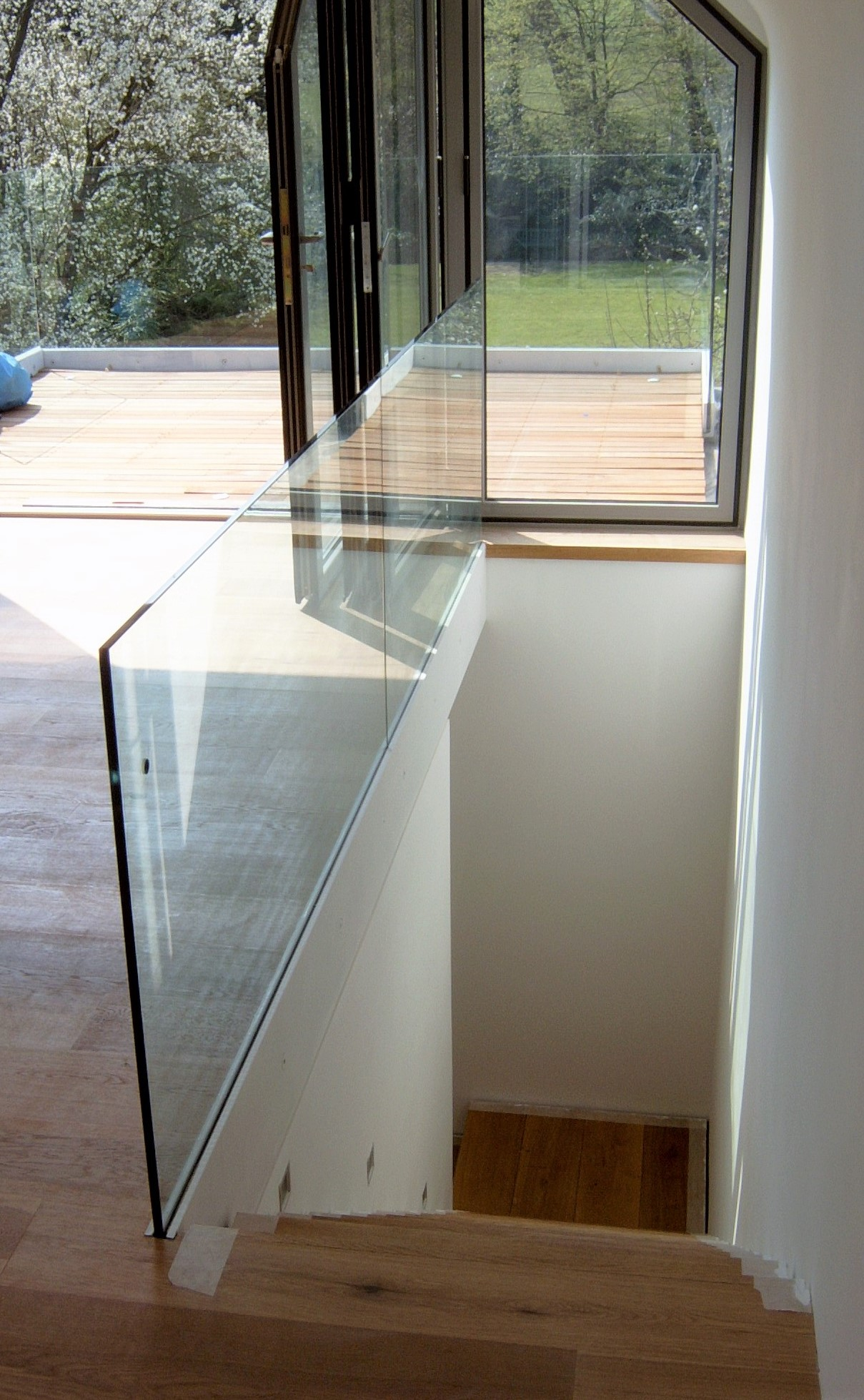 Attic conversion, frameless glass balustrade