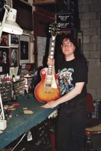Bill Baker working on Ace Frehley's (KISS) Les Paul