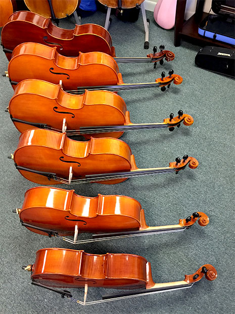 rental cellos: all sizes, standard, advanced models