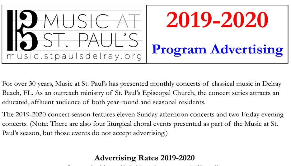 St.Paul's Music 2019-20 Program Schedule