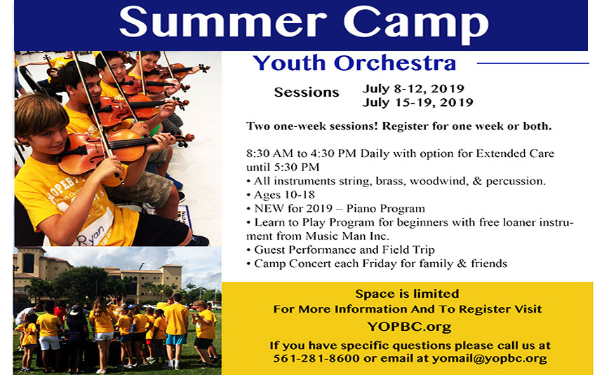 West Palm Beach Youth Orchestra Summer Camp 2019