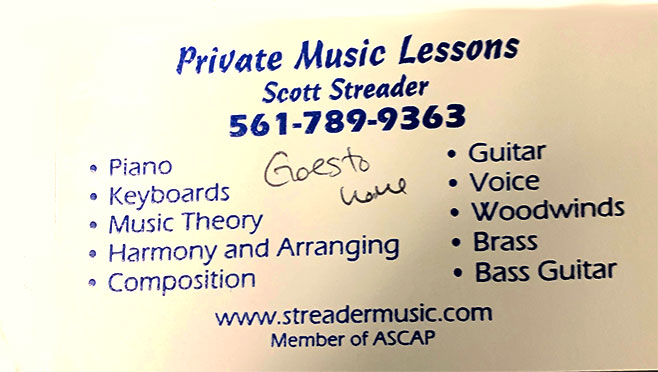 Scott Streader music tuition