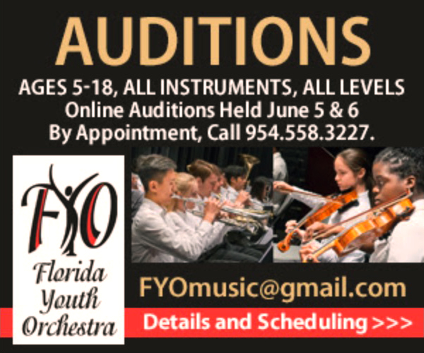 Florida Youth Orchestra-Dates & Festival Auditions 2020; All Instruments