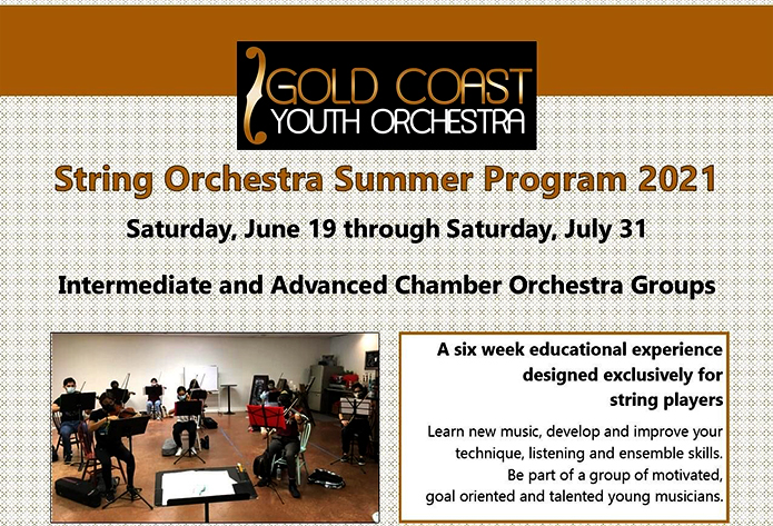 Gold Coast Youth String Orchestra – Summer Program  2021