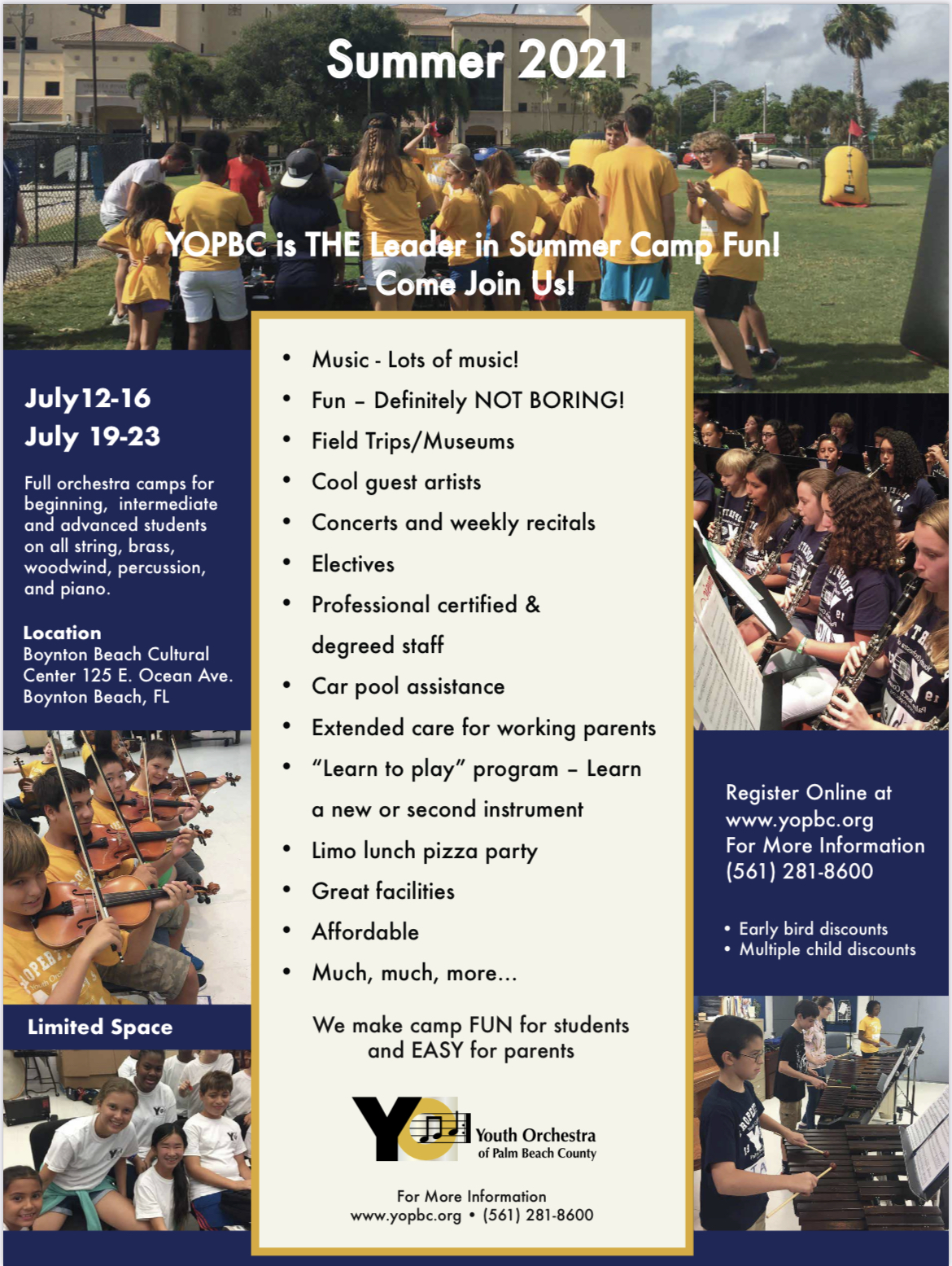 Youth Orchestra of Palm Beach County Summer Camp Info 2021