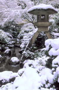 snowscene with stone lantern near pond