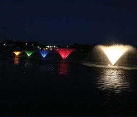 Kasco VFX aerating pond fountains can be equipped with various LED light kits