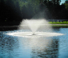 The Scott Aerator aeration fountain is available in sizes capable of oxygenating water at 200gpm to 700gpm.
