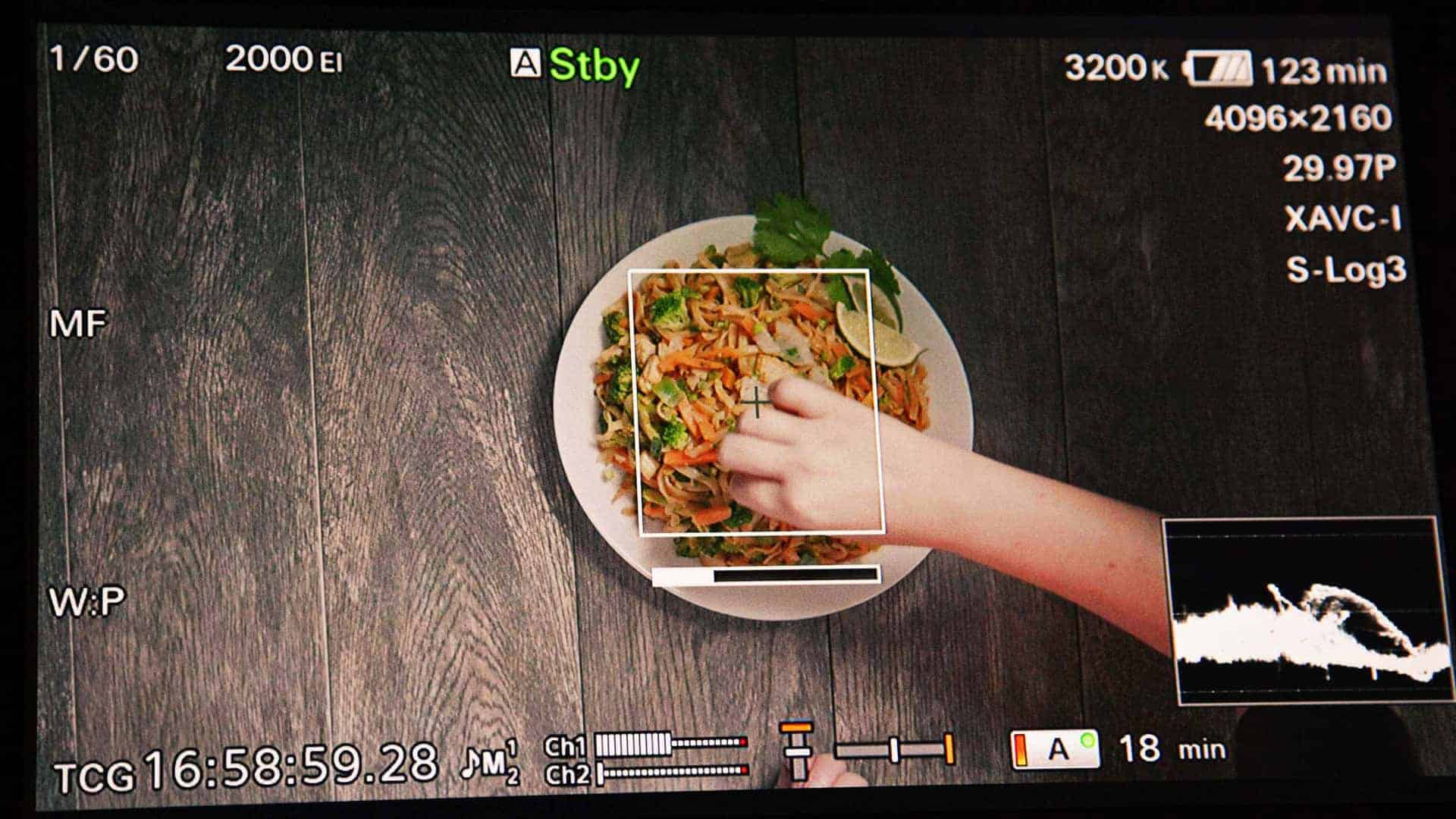 BTS still of food kitchen shoot