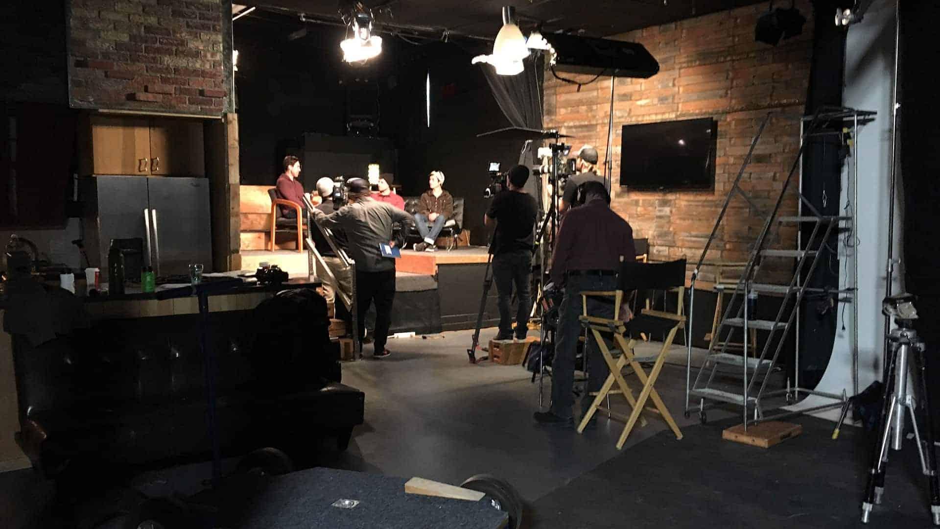 BTS still of shoot in screening lounge