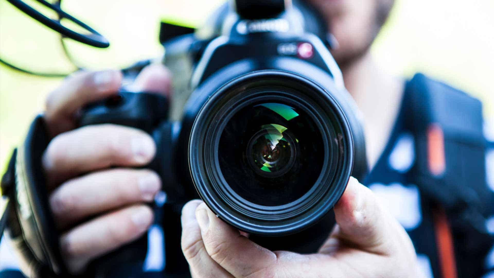 still looking into camera lens