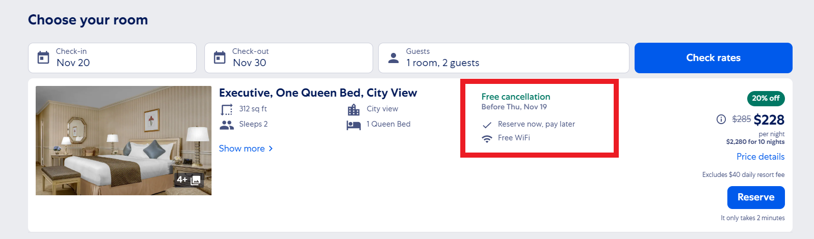 Expedia free cancellation policy