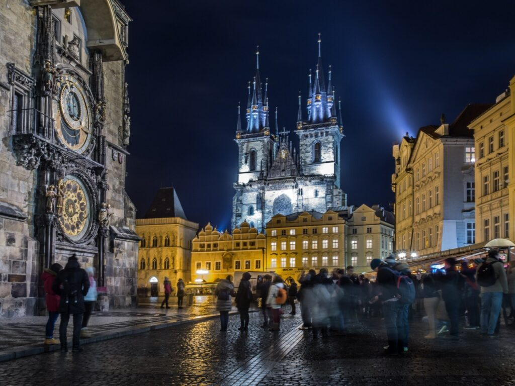 prague old town at night