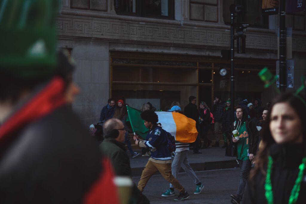 St. Patrick's Day parade and an Irish flag
