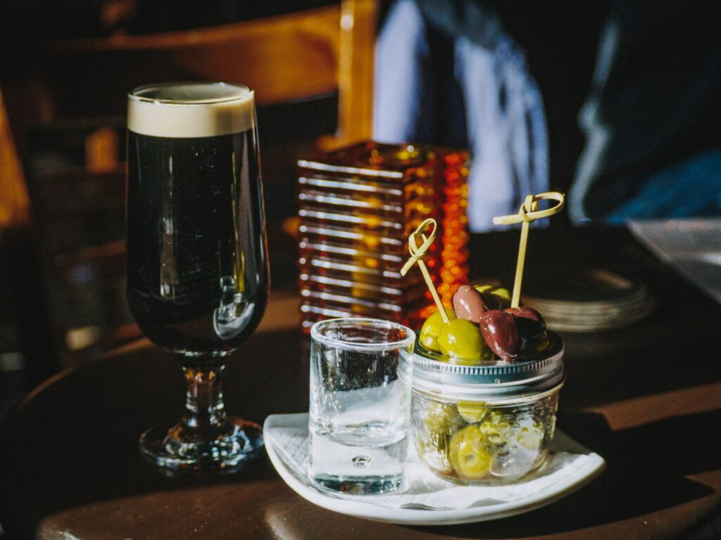 Beer and snacks in a Dublin bar