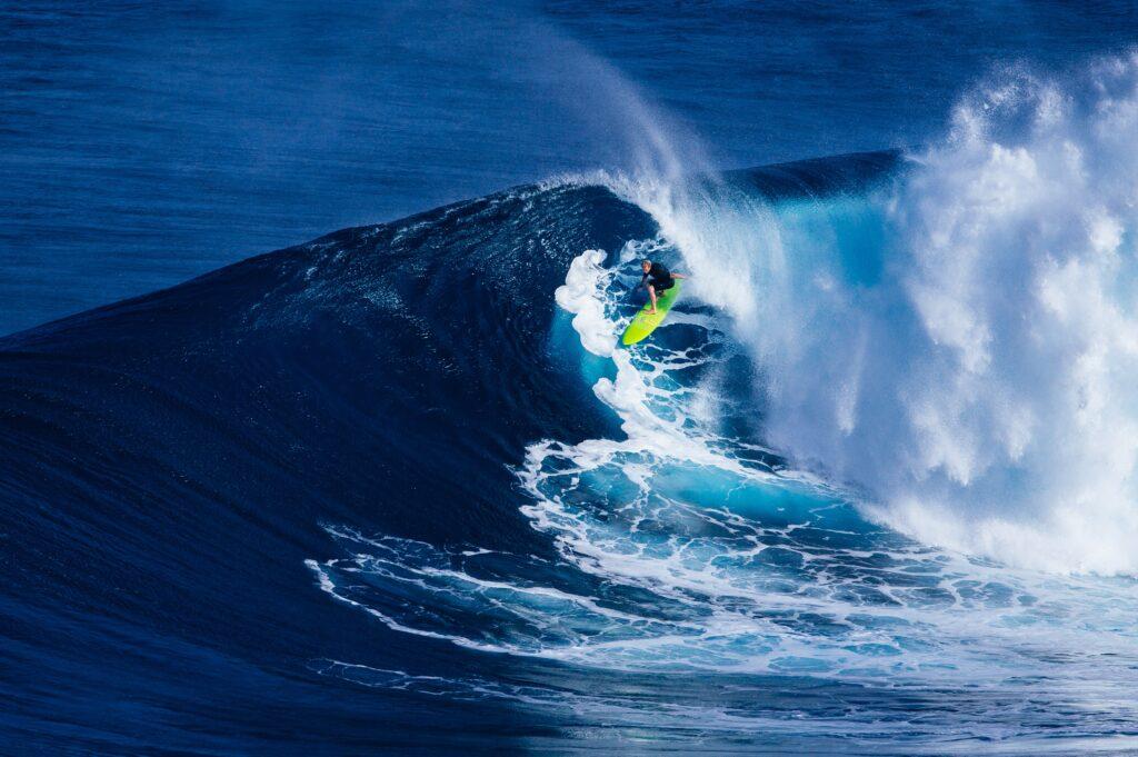 Surfing on the big island of Hawaii