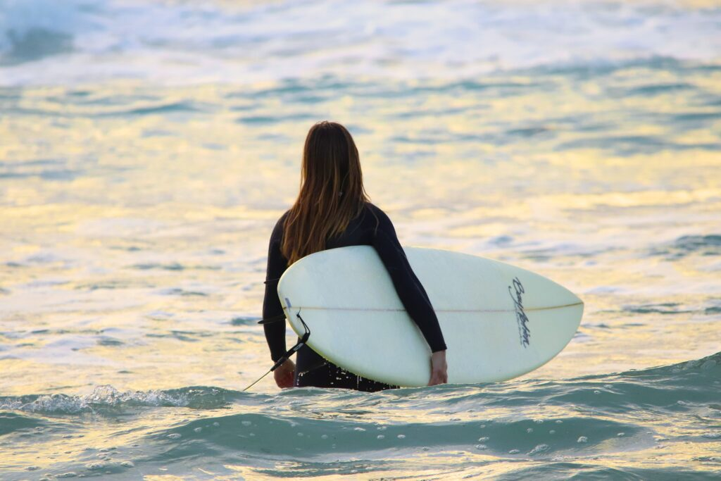 Female surfer in the water