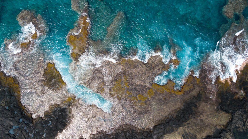 Aerial view from the Ka'awaloa trail, the big island of Hawaii