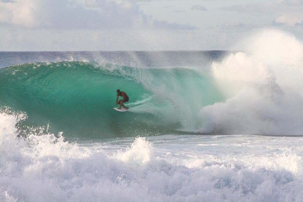 Surfing in Pine Trees Beach, Kona, Hawaii