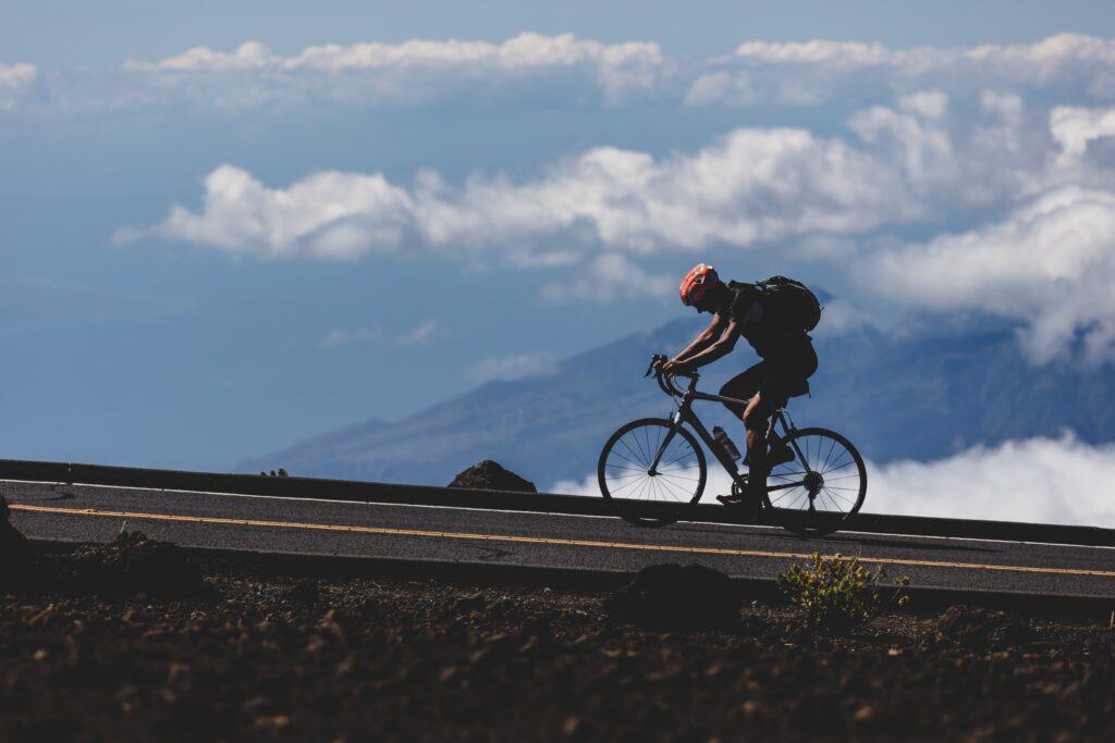 Biking uphill on the Big Island of Hawaii