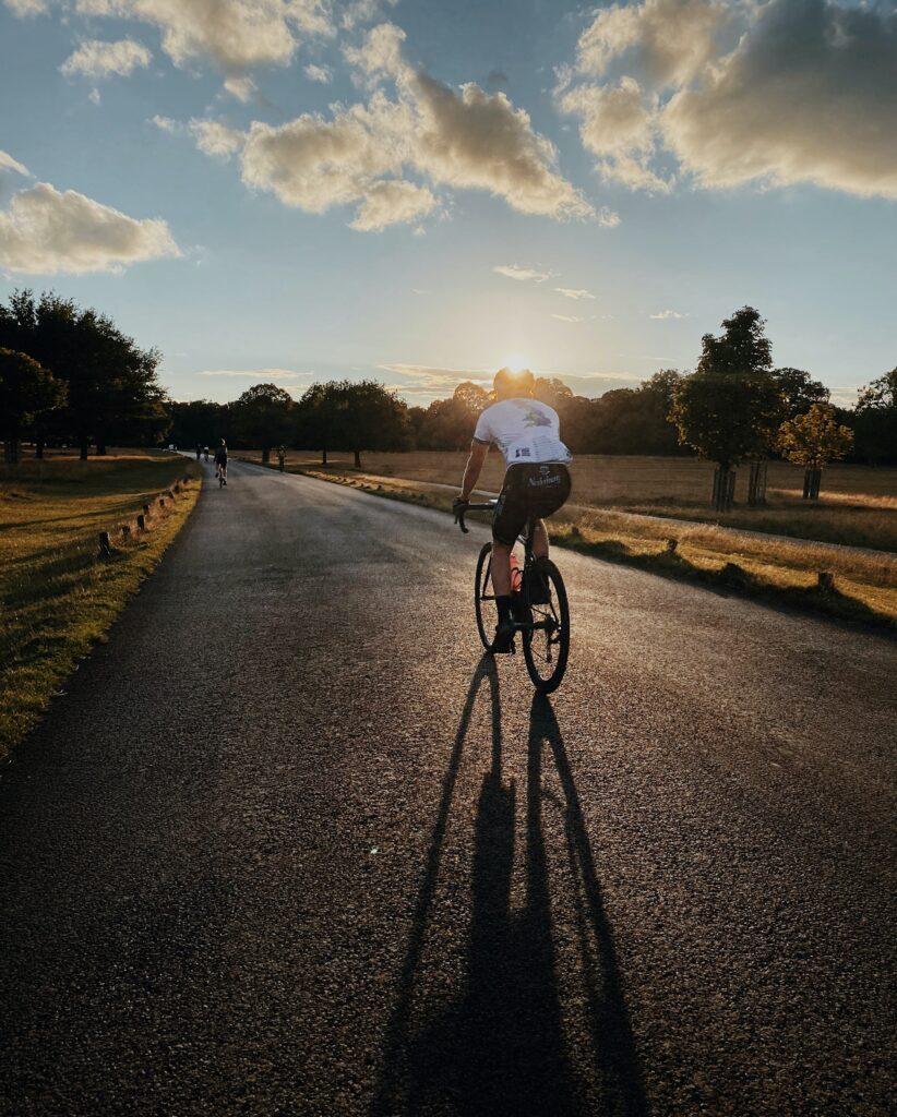 Biking on a road