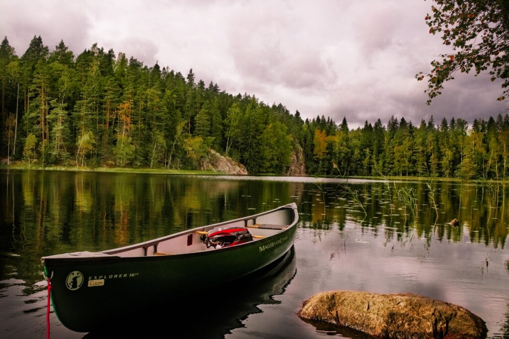 Canoes on lakes