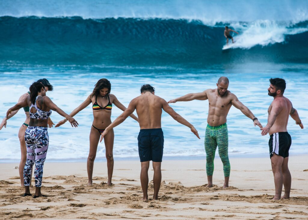 Surfing lessons on the beach