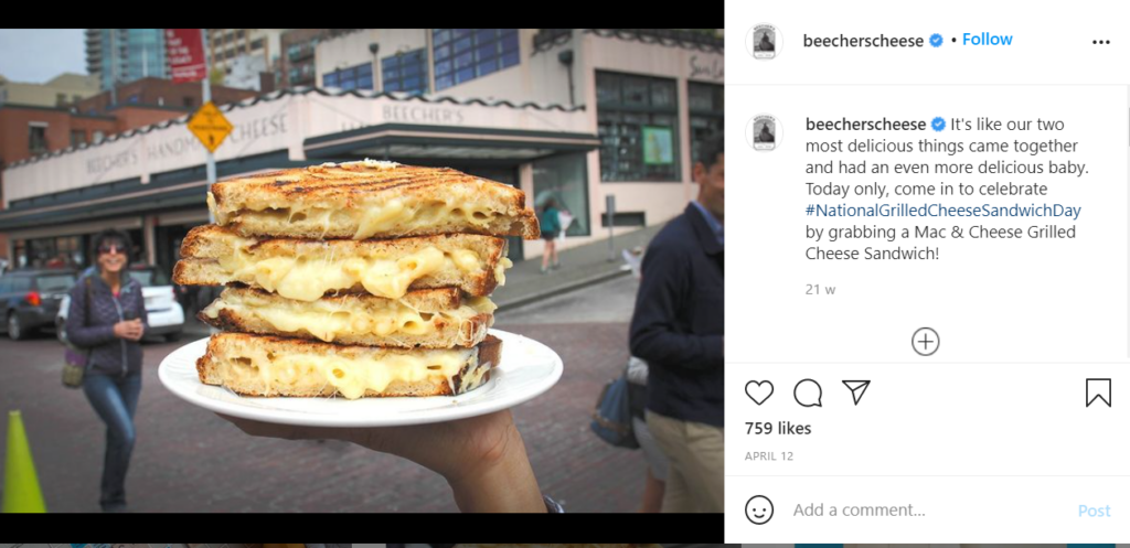 The grilled cheese from Beecher's Cheeses in Seattle