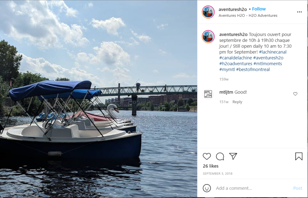 Rent a boat to cruise down the Lachine Canal.