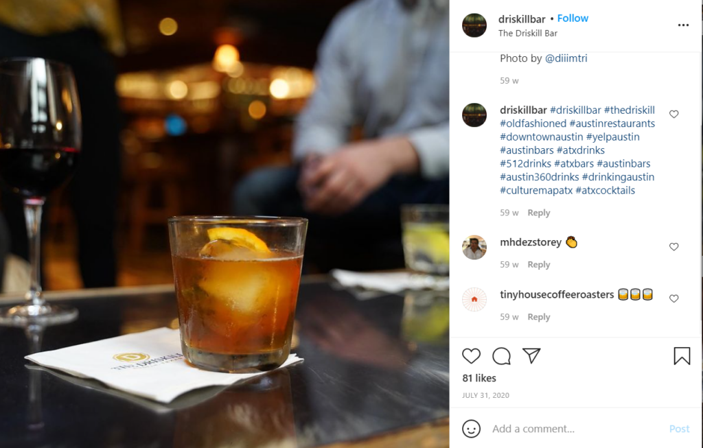 Old Fashioned from Driskill Bar in Austin