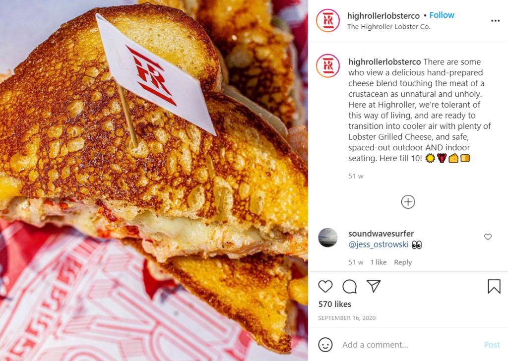 The lobster grilled cheese from Highroller Lobster Co.