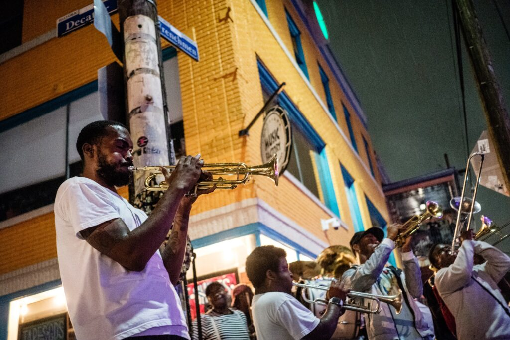 Musicians playing music on the street in New Orleans