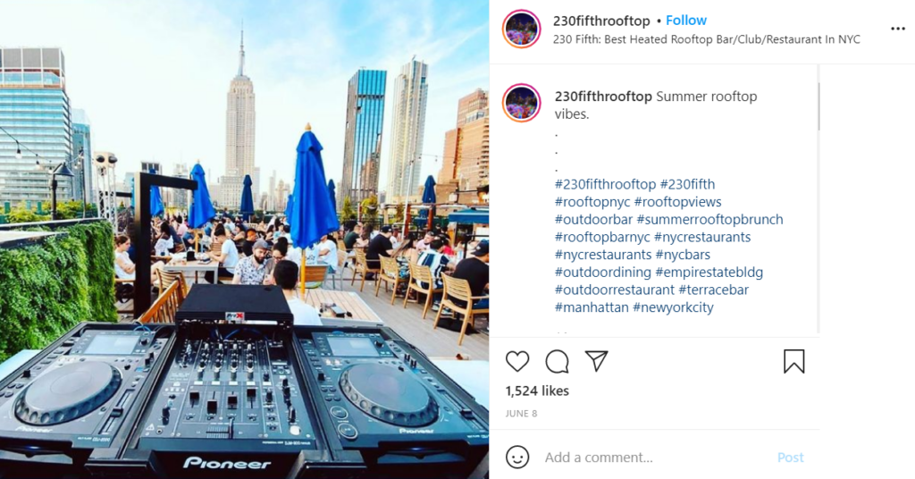 Rooftop views in NYC with a DJ